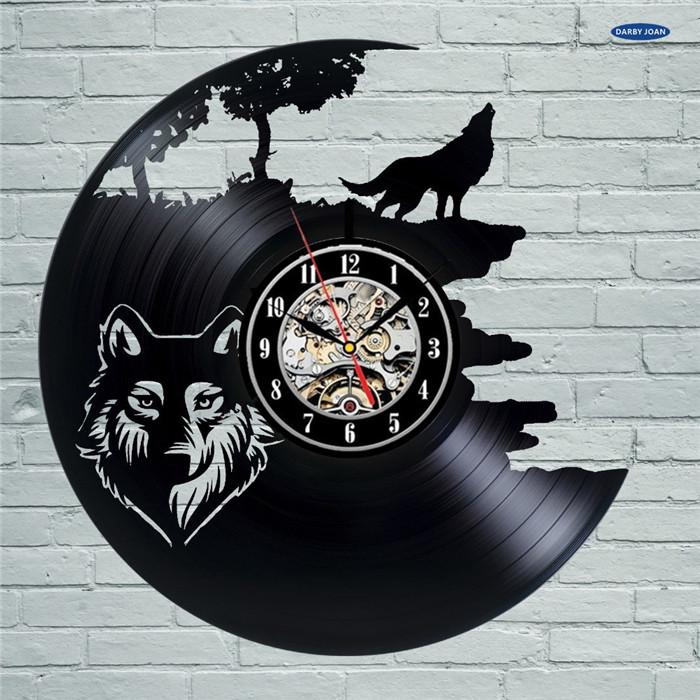 Wolf Pictures Vinyl Record Wall Clock Get Unique Bedroom Or Kitchen