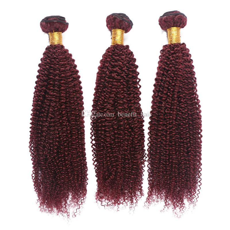 #99j Afro Kinky Curly Hair Extension For Black Woman Brazilian Virgin Kinky Curly Burgundy Human Hair Weft Extension 10-30 inch
