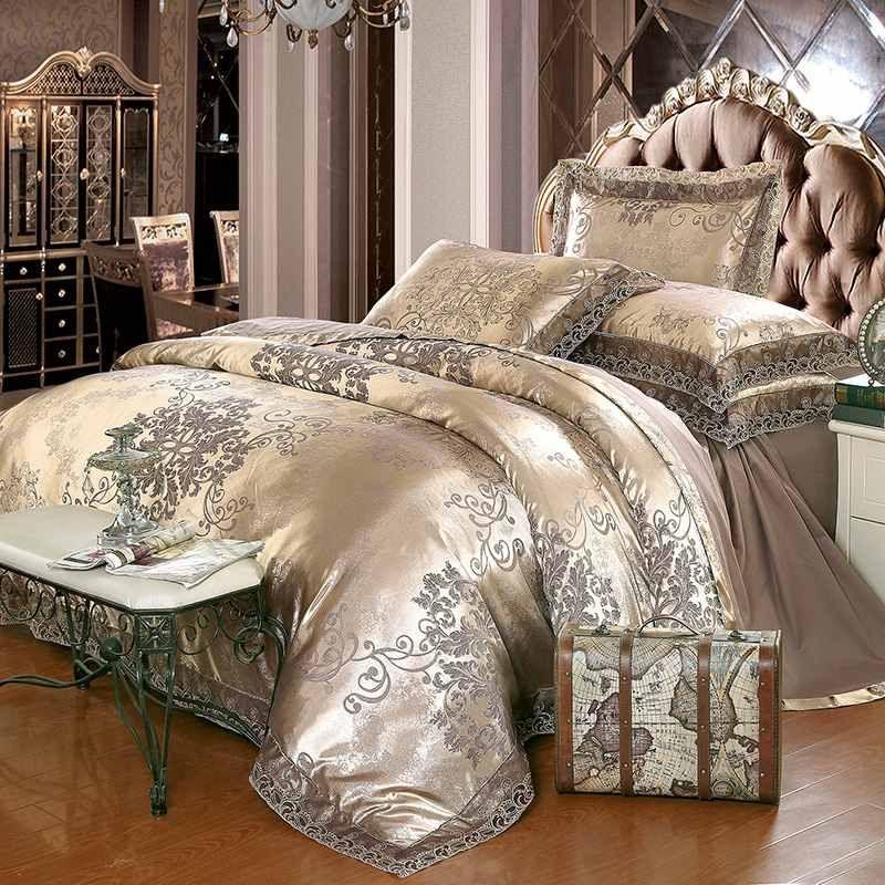 La plata del oro de lujo determinada de la ropa de cama jacquard de café de la reina / cama king size de tinción 4 / de seda de algodón conjuntos de funda nórdica de encaje bedsheet textiles para el hogar