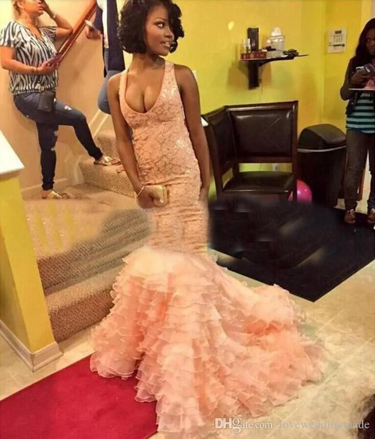 Blush Pink African Mermaid Evening Dresses 2017 Halter Sleeveless Ruffles Tiers Long Prom Party Gowns Organza Skirt