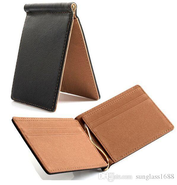 Hot Saleing 2016 Men Wallet Short Skin Wallets Purses Fashion Synthetic Leather Money Clips Sollid Thin Wallet For Men