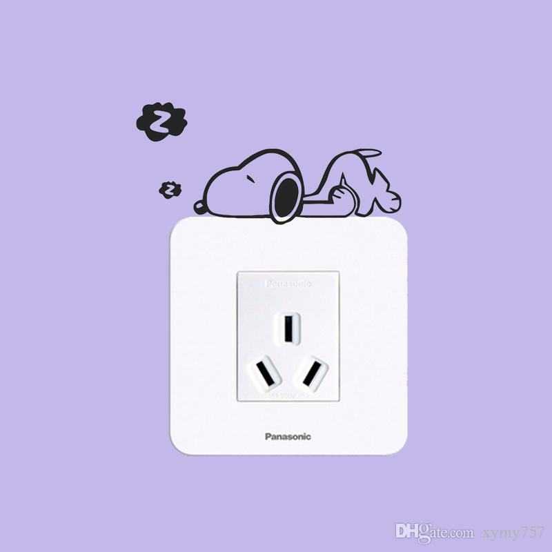 2017 Hot Sale Cute Snoopy Light Wall Switch Sticker Wall Art Funny Home Creative Vinyl Stickers Childrens Room Nursery Diy