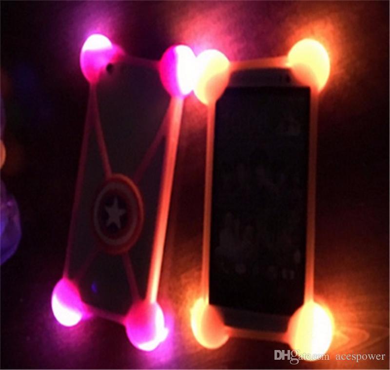 étui en silicone 3D universelle de bande dessinée a conduit allumer pare-chocs étuis légers pour iphone 7 plus samsung LG 3.5
