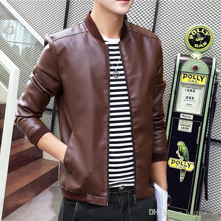 2019 Wholesale Mcckle Fashion Mens Pu Leather Jacket Coat Slim Fit