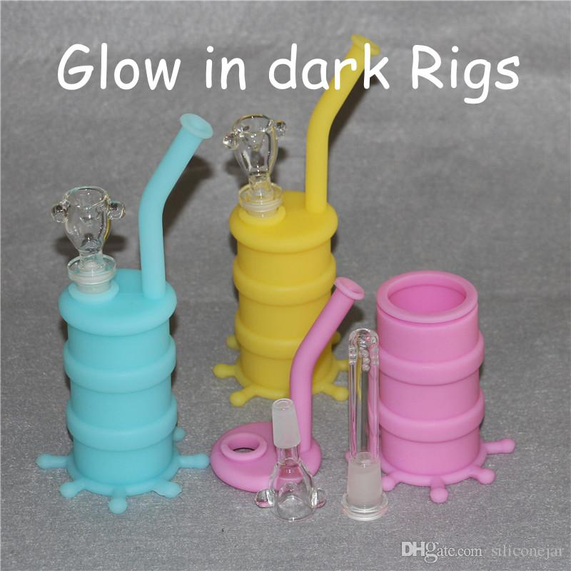 Glow in dark 5Pcs Newest Silicone Oil Drum 14mm Oil Rig Water Pipe Food  Grade Silicone Bongs free shipping DHL