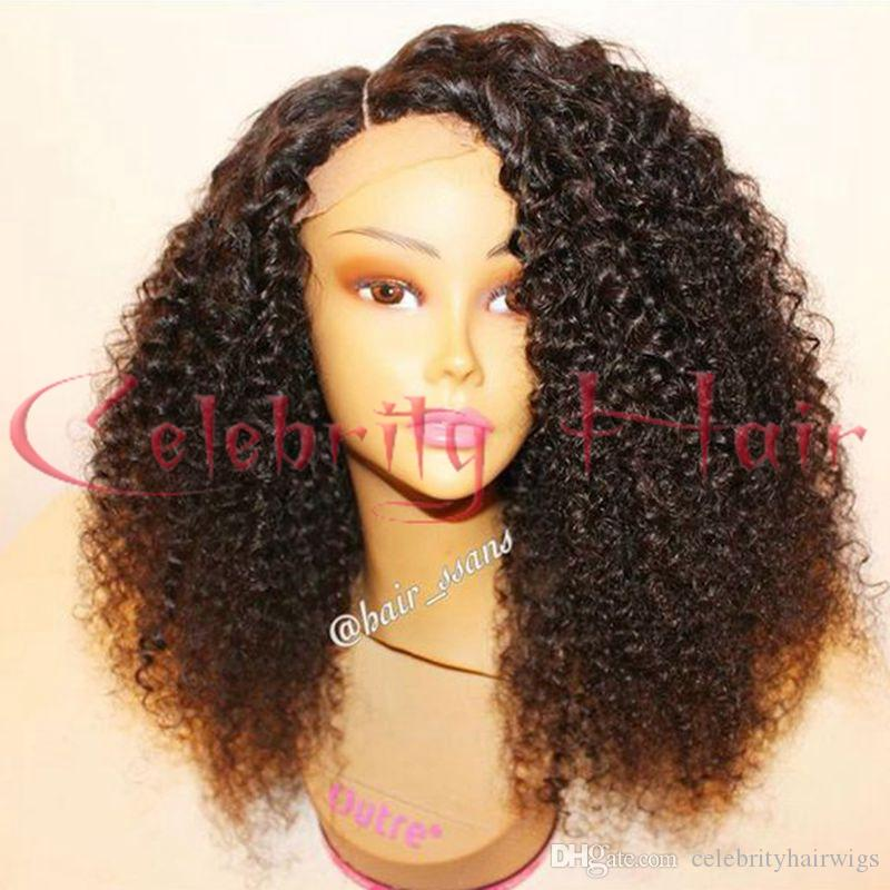 Medium brown lace cap size kinky curly heat resistant side/free/middle 300-400g ,synthetic wigs for black women combs and straps