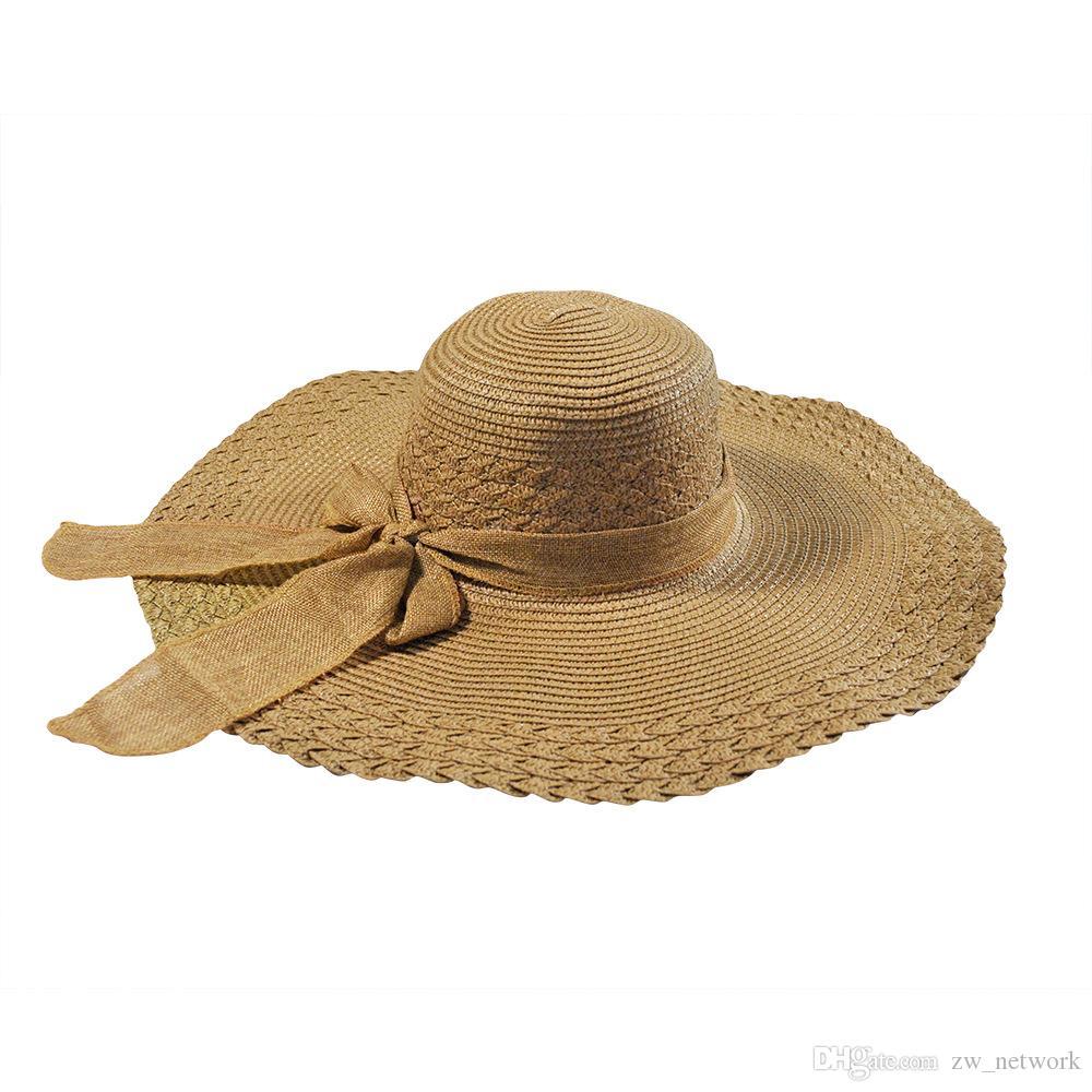 fashion Women Bowknot Wide Brim Summer Beach Sun Hat Lady Vacation Straw Cap