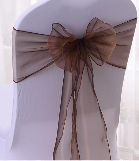 18 * 275 سنتيمتر الأورجانزا غطاء كرسي الزنانير شاح ساشي القوس مأدبة الزفاف