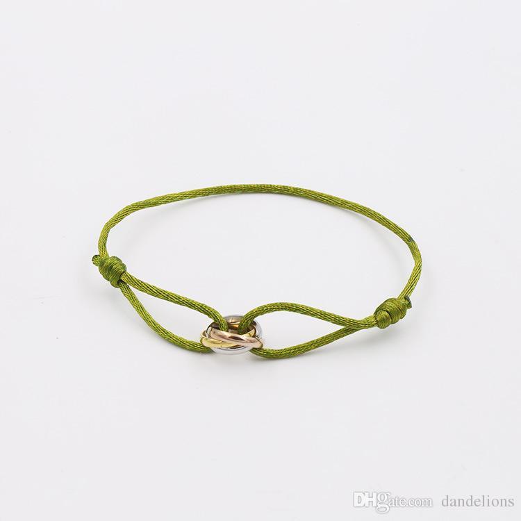 2017 en acier inoxydable couple or couleur charme amour bracelet bracelet en titane main corde argent fashion h braceletbangle pour les femmes bijoux