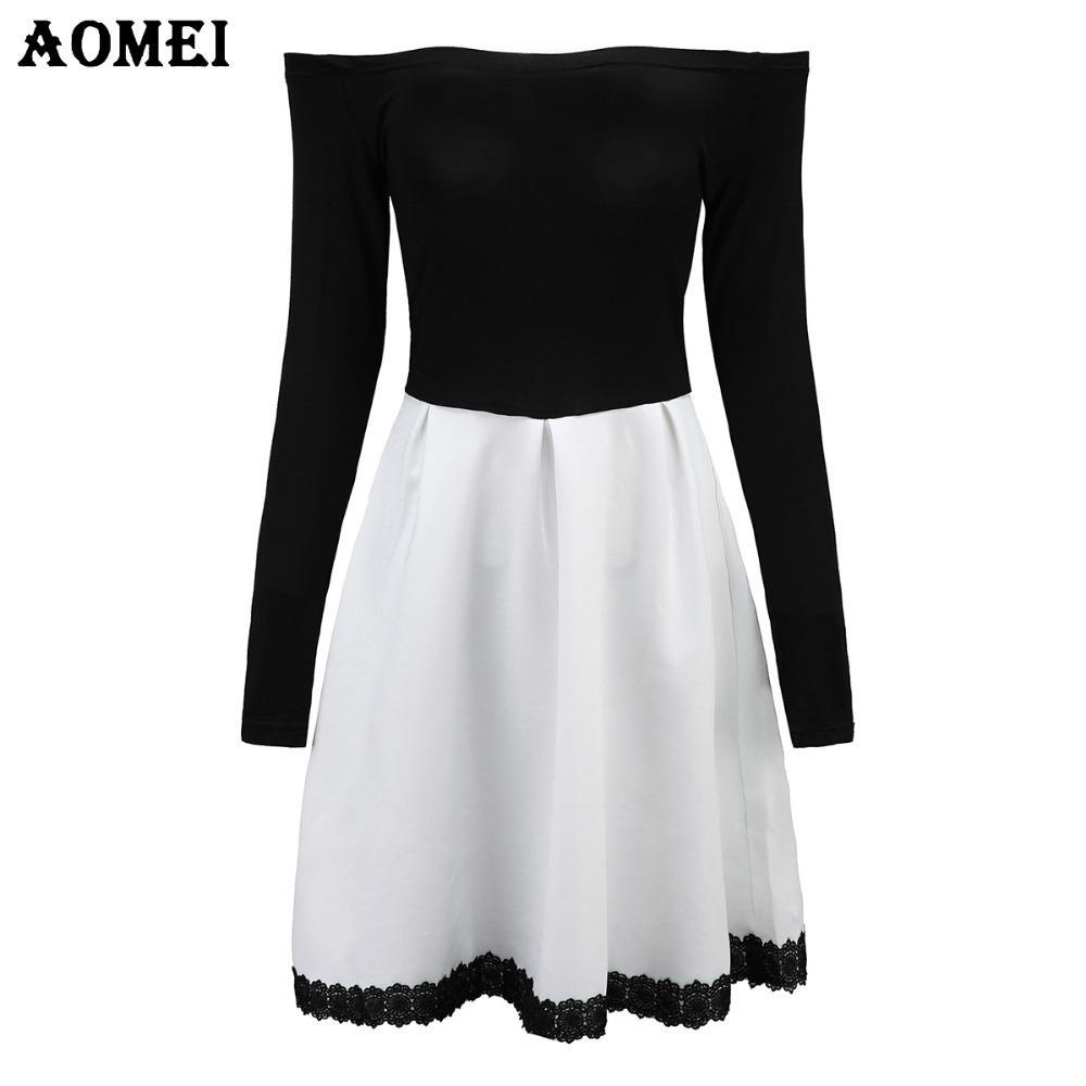5648c1e55 Compre Al Por Mayor S 5xl Vestido De Color Blanco Y Negro Patchwork Para  Mujer Retro A Line Girl Casual Robe Femme Túnica Manga Completa Slash Neck  Dressses ...