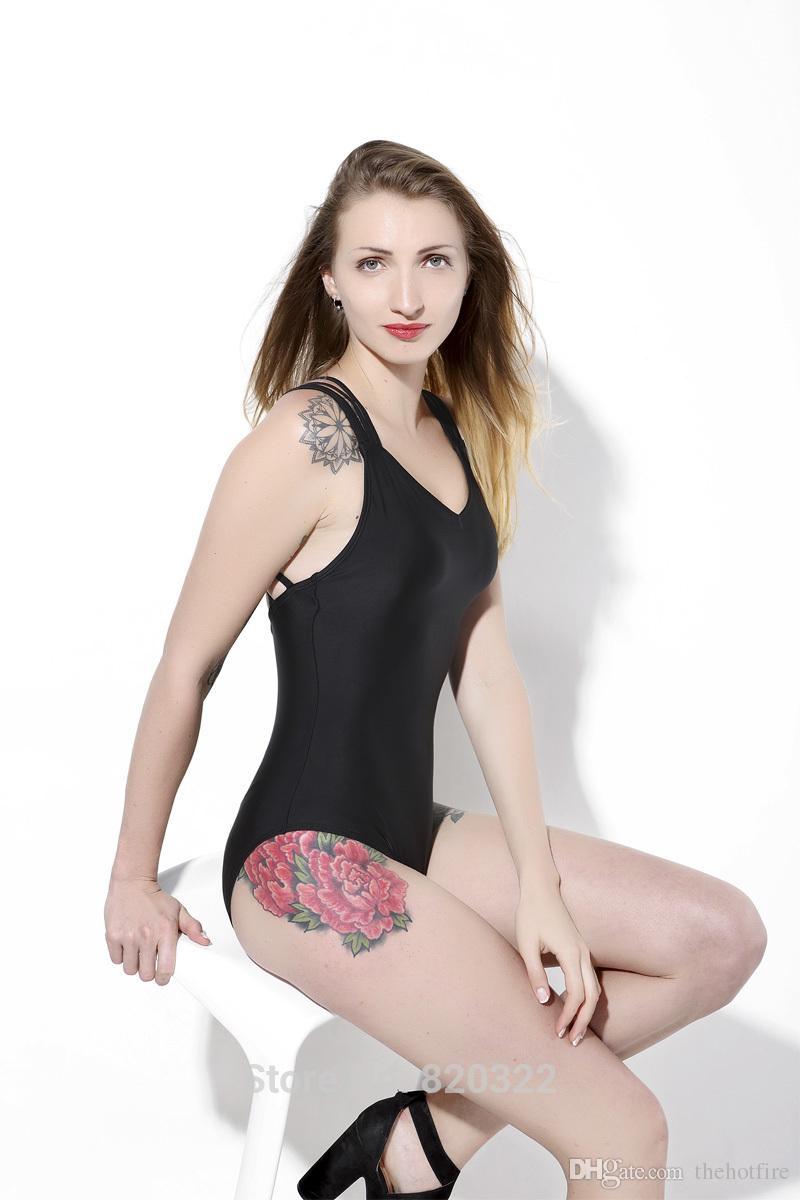 Traje de una pieza sexy Traje de baño negro de corte alto mujer Tanga Back Lace Up String Traje de baño de la playa segura de alta calidad