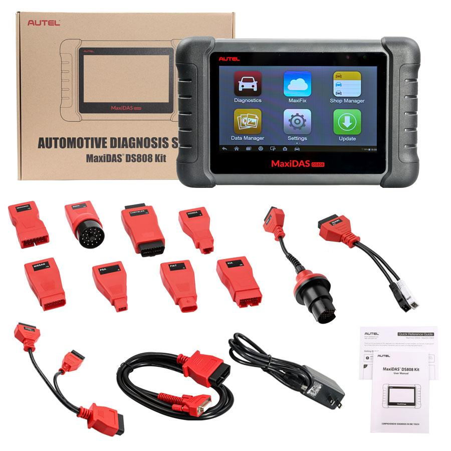 AUTEL MaxiDAS DS808 DS808K KIT Tablet Diagnostic Tool Full Set Support Injector & Key Coding Support Multi-languages