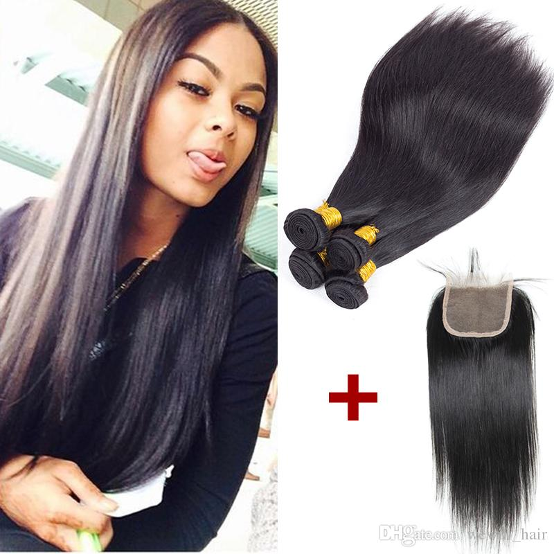 New Arrival Malaysian Peruvian Indian Brazilian Hair Weave 4 Bundles With Closure  Cheap Remy Human Hair Wefts With Closure For Black Women Human Hair Weave  ... 89f999d28