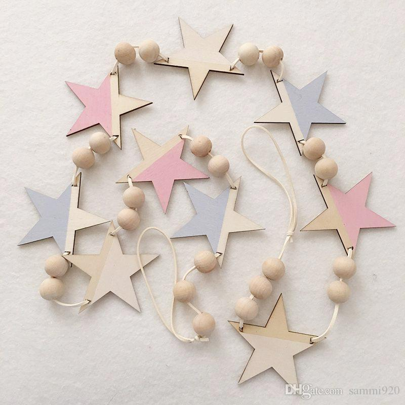 Wooden Star Wall Decor 2017 ns beautiful star wooden beads wall decorations baby kids