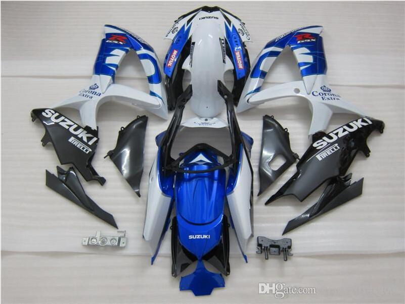 Free 3 gifts new high quality ABS injection molding fairing for SUZUKI GSXR600 GSXR750 2008-2010 white blue corona