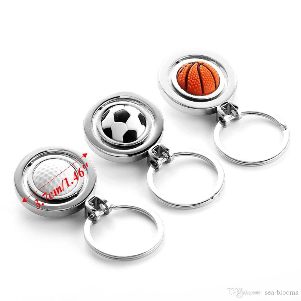 New Style 3D Rotary Soccer Basketball Golf Metal Pendant Key chain Originality Gift Gadget KeyChain 3 Styles B600Q