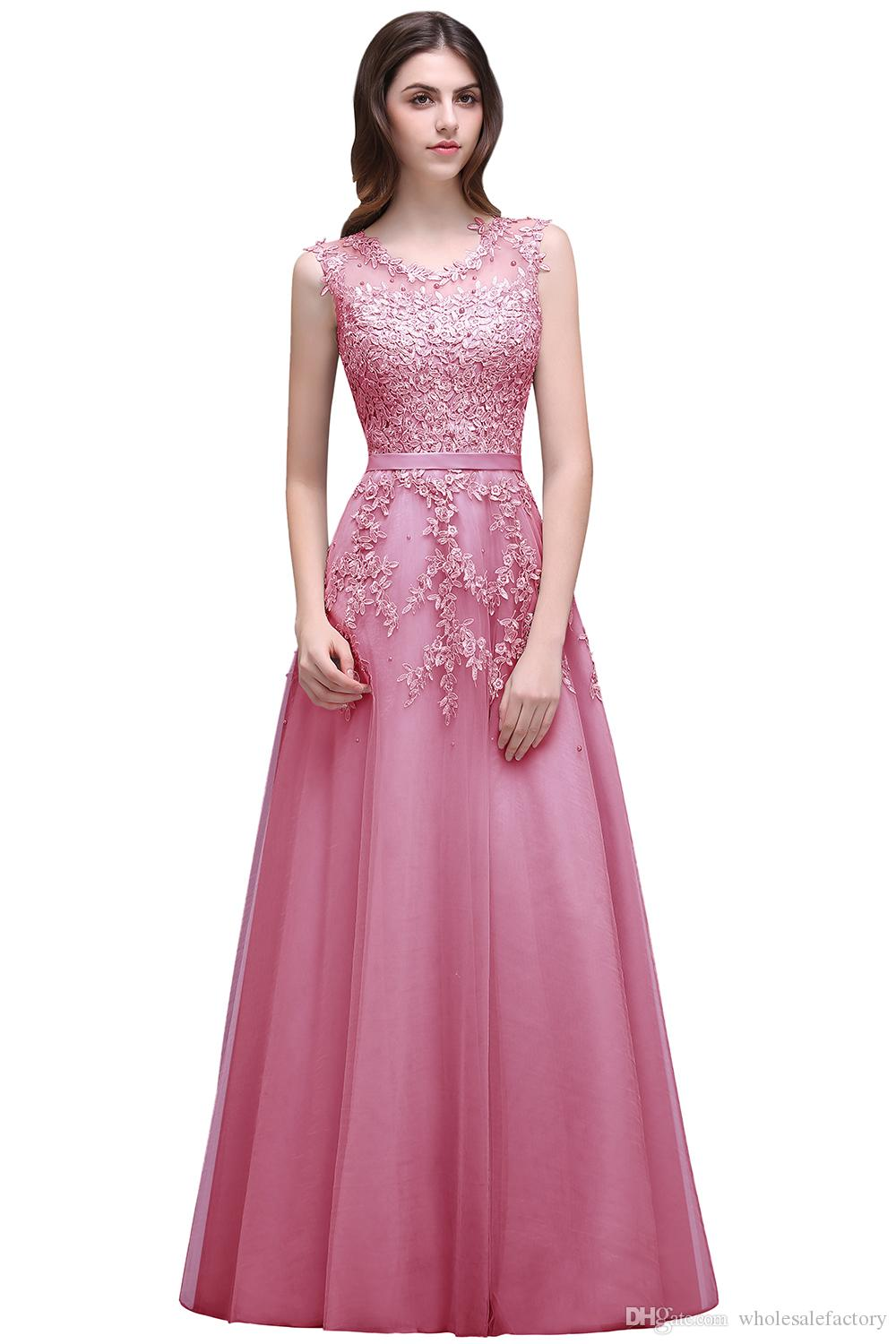 Pink Beaded A Line Evening Dress with Lace Appliques 2017 Sexy Sheer Neck Illusion Back Burgundy Long Prom Dresses Vestido de Festa Hot