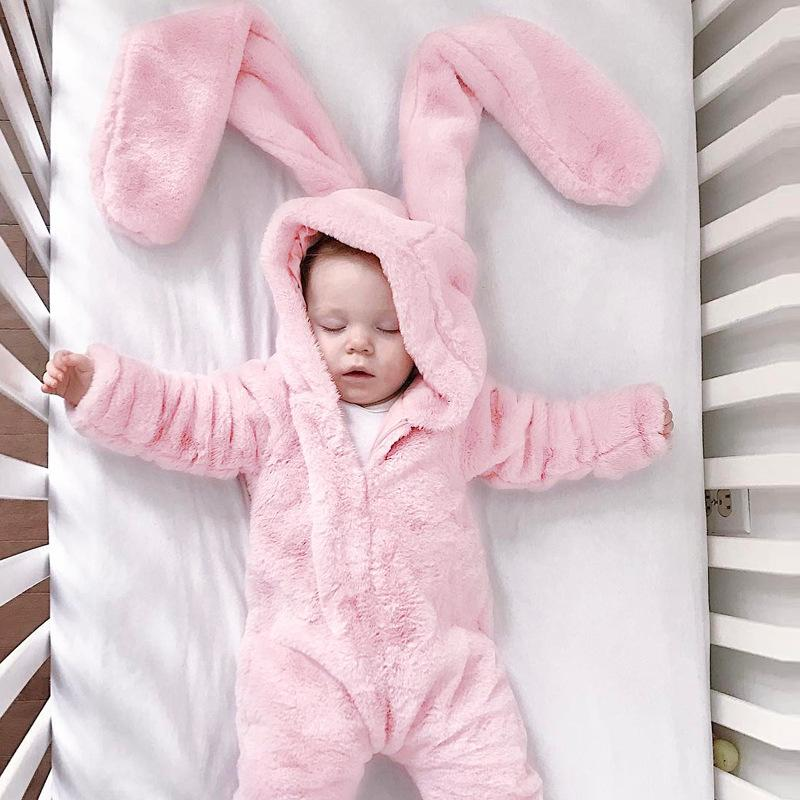 fee5c76e28e9 2019 Baby Clothing Winter Jumpsuits Kids Clothes Girls Rabbit Ears ...