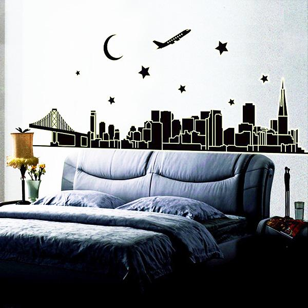 Luminous Dubai Pvc Wall Stickers Bedroom Silhouette Living Room - Wall decals dubai