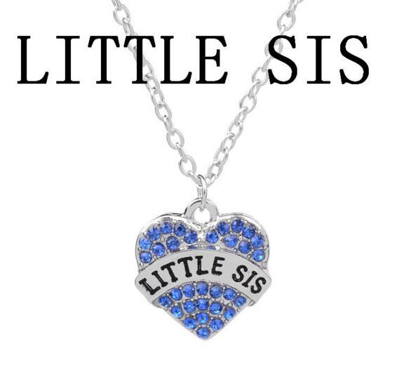 Crystal Heart Big Middle Little Sister Rhinestone Baby Necklace Best Sister Heart Love Pendants for Women Necklaces Best Friend Jewelry
