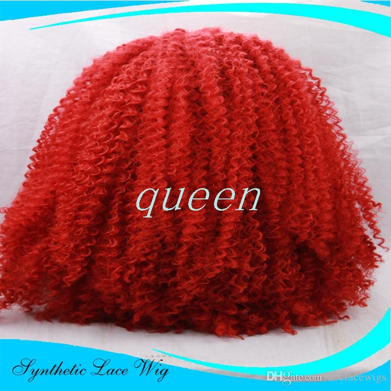 """Hot sale Glueless Heat Resistant Natural Black/Dark Brown Afro Kinky Curly Synthetic Lace Front Women Wigs #1/#2 red Aurica-22.25""""M"""