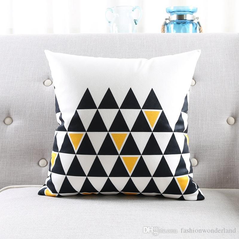Moderne geometrische Kissenbezüge 5 Arten Schwarz und Gelb Dreiecke weiche Kissen Fall 45X45 cm 30X50 cm Sofa Schlafzimmer Dekoration