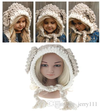 f5539acf06a Baby BUNNY EARS Hats Handmade Kids Winter Hats Wrap Lamp Caps Cute ...