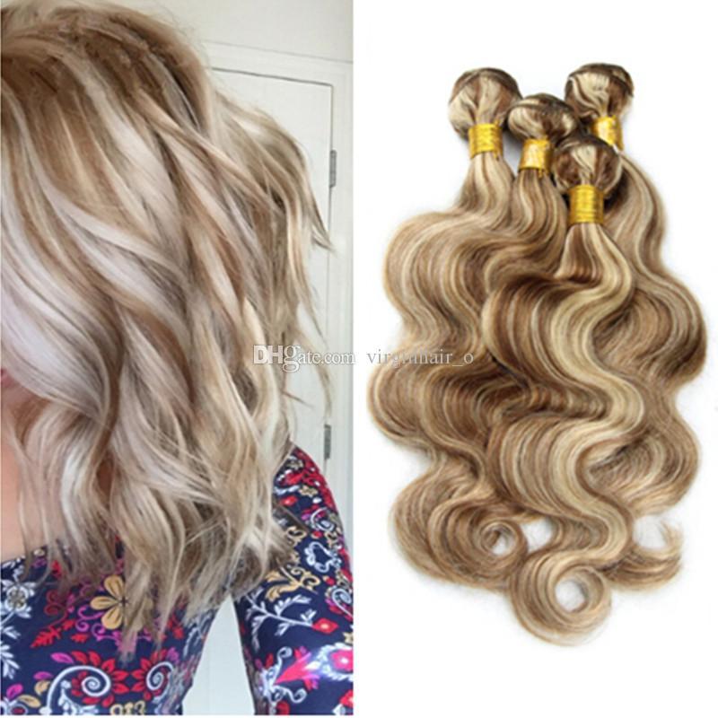 9a Blonde Highlights Malaysian Human Hair Body Wave Piano Color 8