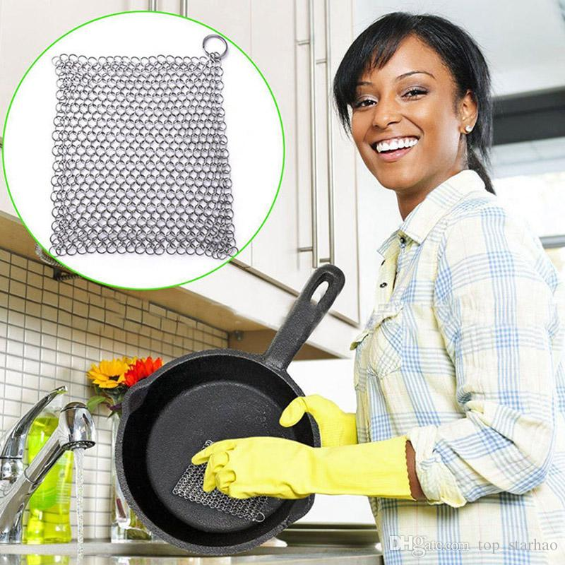 20*20cm Finger Iron Cleaner Stainless Steel Chainmail Scrubber Ringer Cast  Iron Chainmail Cleaner scourer Kitchen Cleaning Tool XL-285