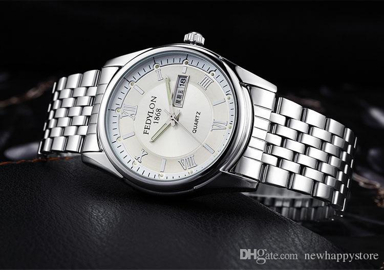 Luxusmarke Uhr Männer Schwarz Weiß Blau Zifferblatt Edelstahl Marke Leuchtende Uhr Moderne Uhren Komplette Kalender Wasserdicht