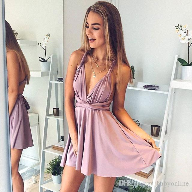 Blush Pink Unique Homecoming Dresses 2018 Sexy Spaghetti Straps A ...