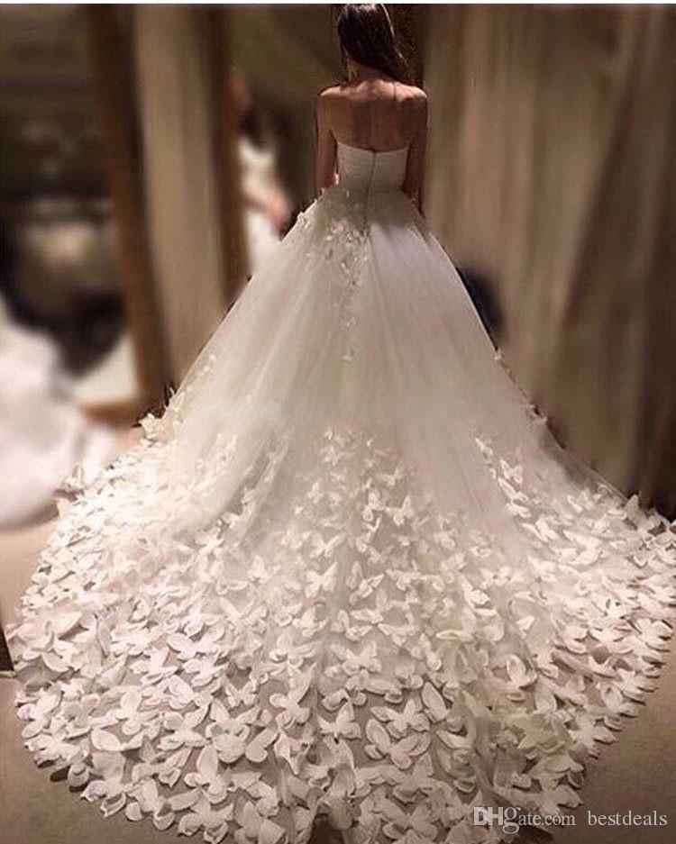 Vestidos de gala vestido de novia 2017 mariposa hecha a mano tren de la catedral delicado vestidos de novia vestidos de novia vestido de noiva