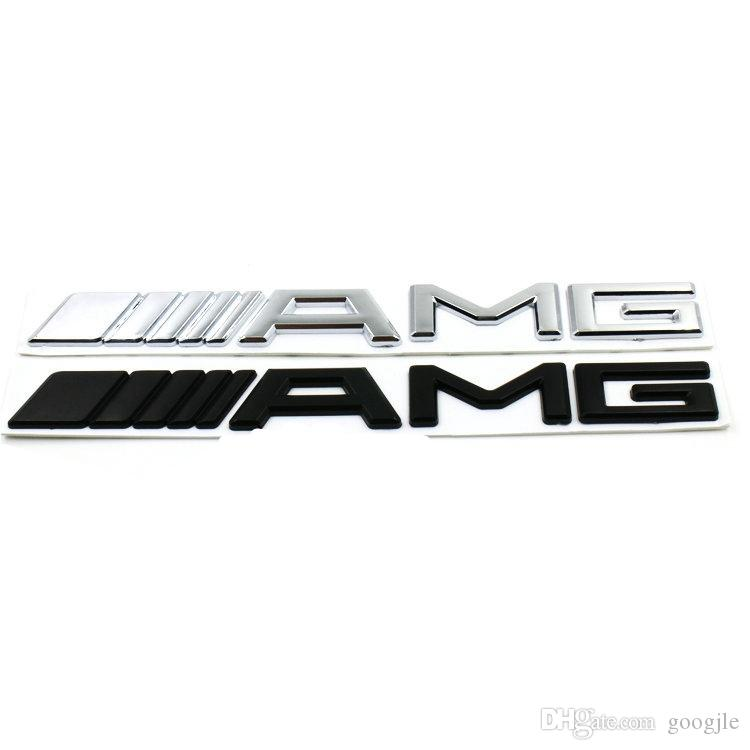 3D ABS Car Logo 3M AMG Letter Badge Sticker Para Mercedes MB CL GL SL ML A SLK B C E S Clase Plata Negro de Alta calidad