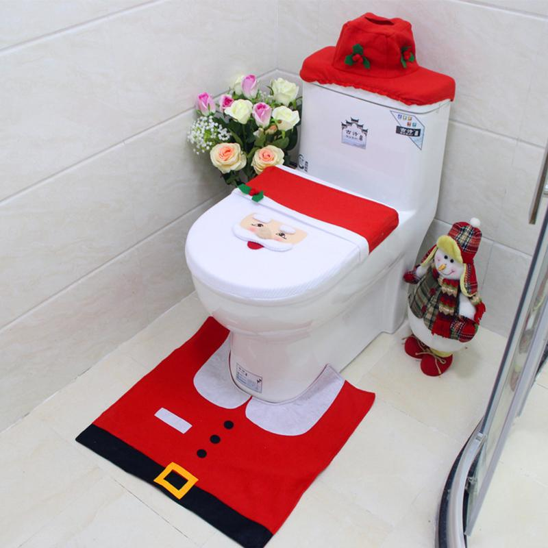 Wholesale New Christmas Decoration For Home Santa Toilet Seat Cover Rug Bathroom Set Claus Ornament Accessories Holiday Decorating