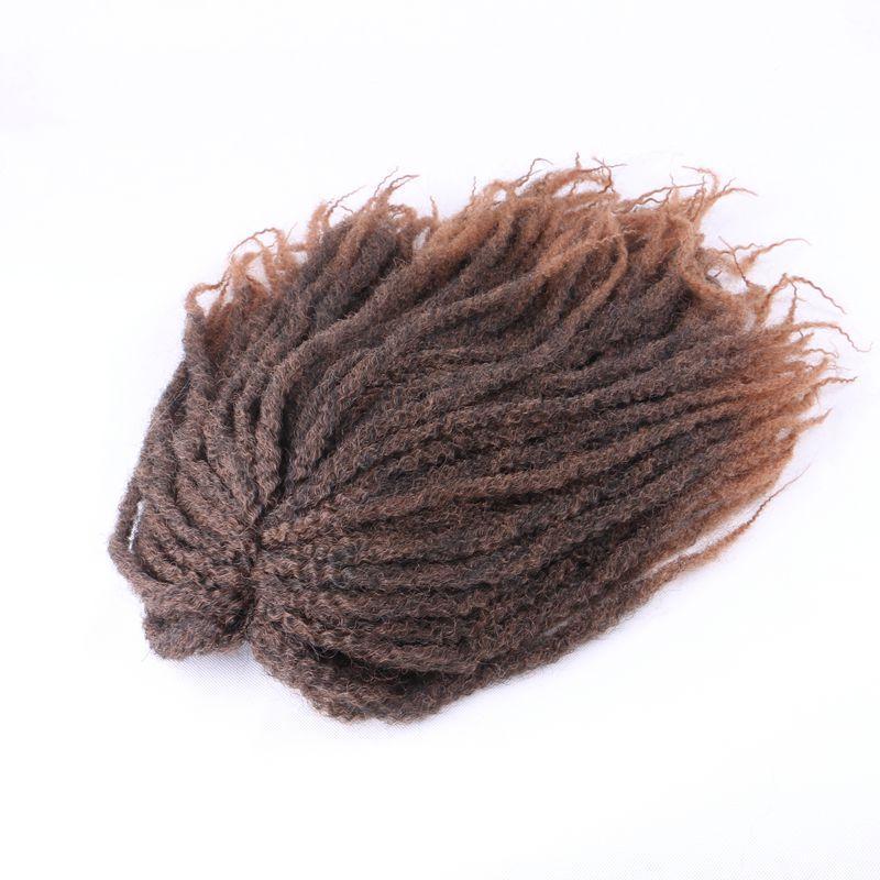 الباروكات الاصطناعية مارلي الضفائر الأفرو غريب مجعد الباروكة 18 بوصة أومبير براون الأفريقية الأمريكية نمط تأثيري الباروكات