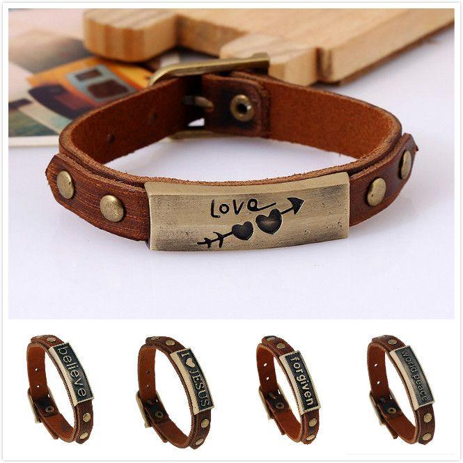 6f24020160afc8 Wholesale- Lover Bracelets New Fashion Letter I Love Jesus Bracelet ...
