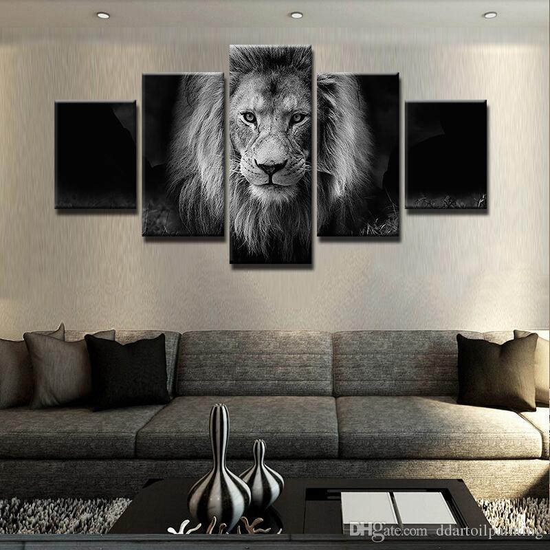 2018 Modern 5 Panel Black And White Animal Lion Canvas Wall Art