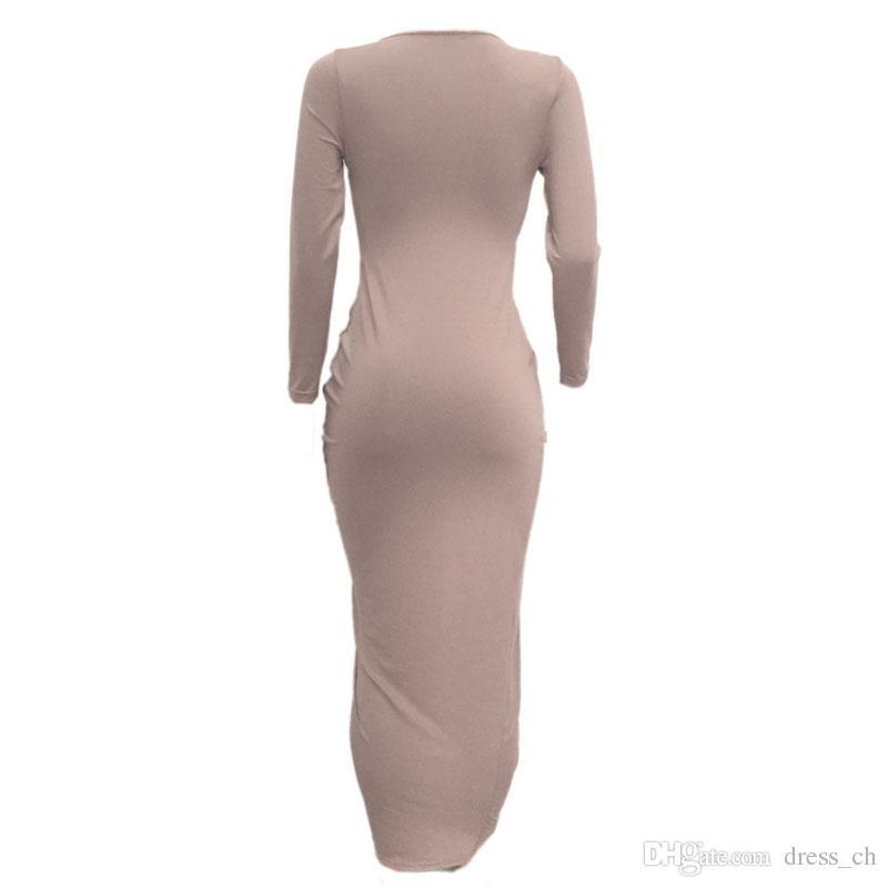 Bayan Uzun Kollu Casual Clubwear Düzensiz V Yaka Bölünmüş Uzun Elbise Akşam Kokteyl Parti Elbiseler