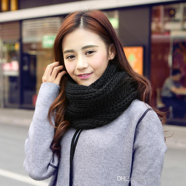 Winter Women Infinity Scarf Casual Warm Knitting Soft Ring Scarves Round Neck Snood Scarf Shawl for Lady