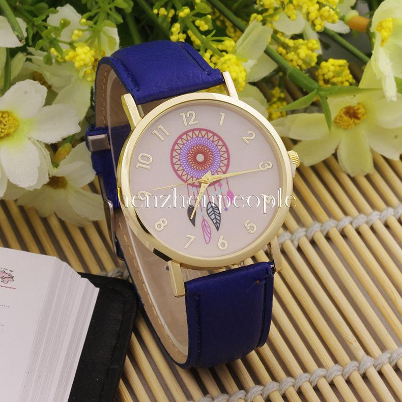 2016 New Girls Bracelet Watch Dreamcatcher Friendship Women Ladies Rose Gold Dial Leather Watches Geneva Watch