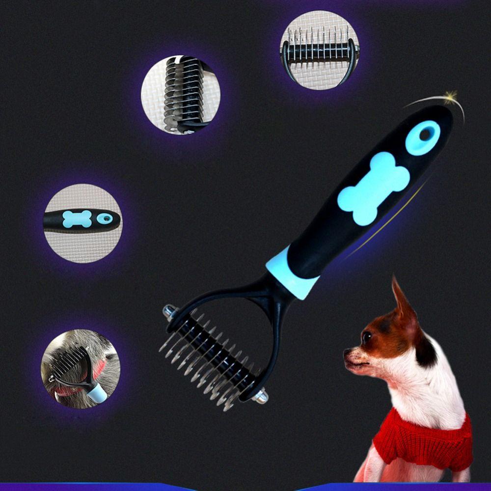 Vente chaude en acier inoxydable pour animaux de compagnie chien chat cheveux peigne brosse râteau toilettage animal démêlant peigne en brosse à cheveux lisse cheveux peigne