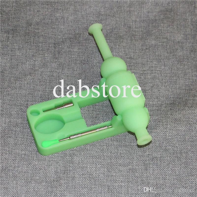 Mini Glow in the Dark Raccoglitore di nettare in silicone con chiodo in titanio e strumenti Dabber in silicone nettare Pipes DHL free