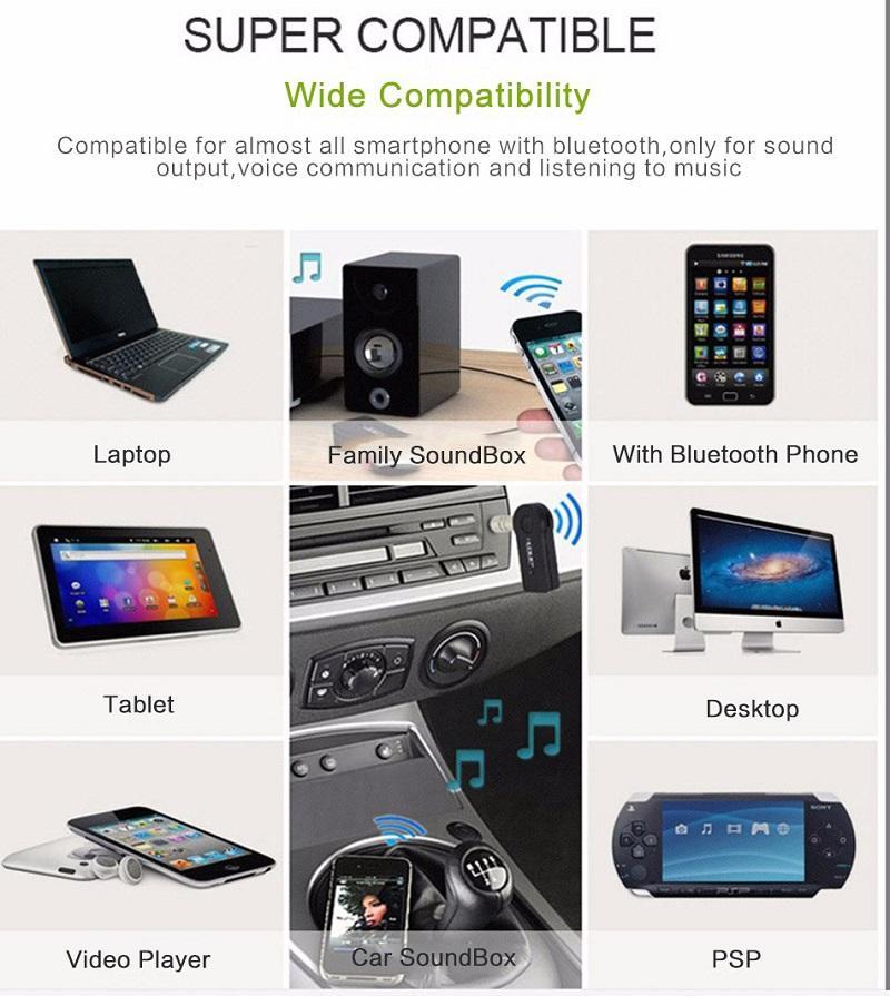 Universal 3,5mm Bluetooth Car Kit A2DP Drahtlose FM Transmitter AUX Audio Musik Receiver Adapter Freisprecheinrichtung mit Mikrofon für Telefon MP3 Kleinkasten