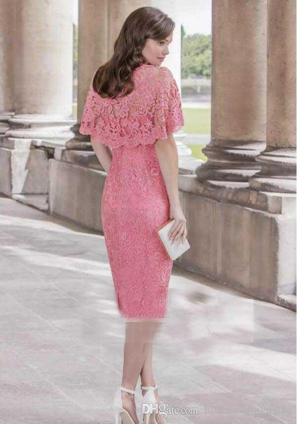 Tea Length Pink Lace Mother Of The Bride Dresses 2017 V Neck Jacket Women Wedding Guest Gowns Short Party Dress