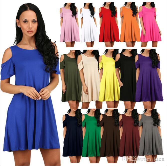 abe2e52b4b5b Women'S Cold Shoulder Tunic Top T Shirt Swing Dress With Pockets ...