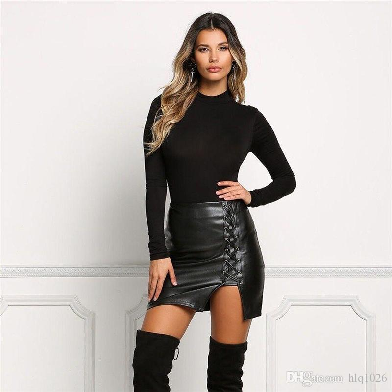 f83b8c7400 2019 Black Lace Up PU Leather Skirts 2017 Spring Summer Womens Side Split  Pencil Skirts Vintage High Waist Bodycon Mini Skirt From Hlq1026, $19.53    DHgate.