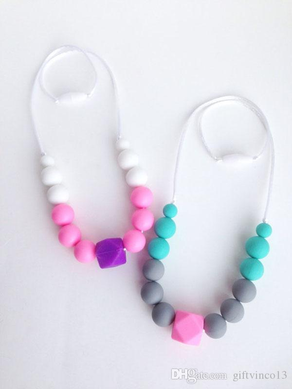 New Teething Necklace Food Grade Silicone Hexagon Pendant Round Beaded Necklace FDA Silicone Baby Teethers Baby Chewlry Jewelry Necklace