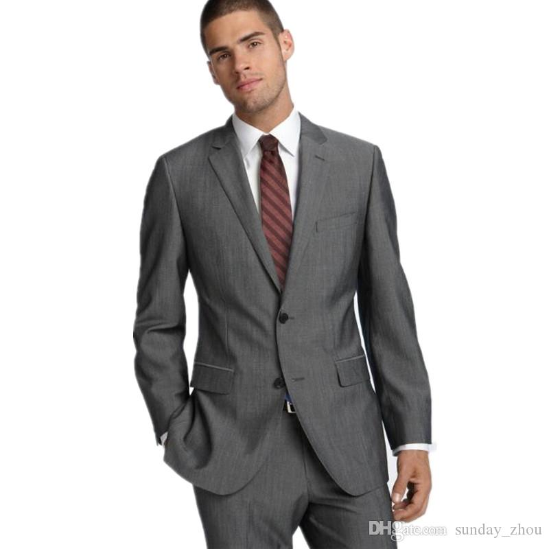 Men suit new arrival notch shawl groom suits tuxedos gray custom made slim fit groomsman suit dressjacket+pants