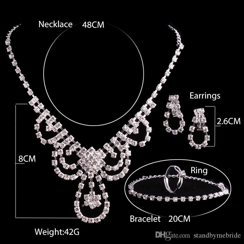2017 cheap shiny Bridal Jewelry Wedding Bridal Rhinestone Accessories Necklace and Earring Ear Stud Style Sets Silver Plated New