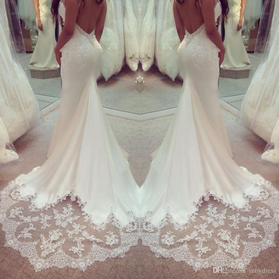 Sexy open back trumpet wedding dresses 2017 spaghetti for Sexy open back wedding dress